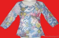 SIZE LARGE KAKTUS EYELASH RUFFLE TOP~blouse~TIERED~floral/sublimation~TATTOO~new #Kaktus #KnitTop #Casual