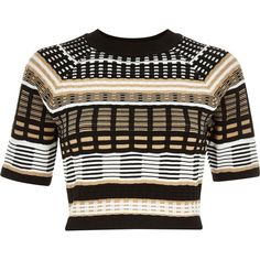 River Island Black geo print cropped knitted top (€17) ❤ liked on Polyvore featuring tops, crop tops, shirts, sale, river island, tall shirts, geometric crop top, tall tops and shirt crop top