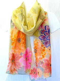 Hand Painted Silk Scarf. Japanese Floral Silk Scarf. Spring Flower Festival. Luxury Silk. Silk Scarves Takuyo. 13x69 in.. $235.00, via Etsy.