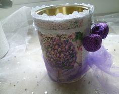 """Dose """"Lila Blumen"""" von Rosettas Laden auf DaWanda.com"""