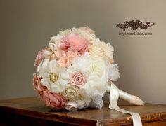 wedding Bouquet blush bridal bouquet peach bouquet by MySecretFace