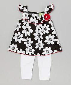 Look at this #zulilyfind! Black Flower Tunic White Leggings - Infant Toddler #zulilyfinds