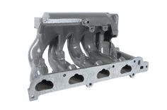 Manifold powder coated for show car in gray from Rukse High Performance Coatings in Utah.