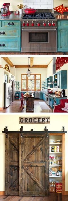 {junk gypsy co. - photo cred: country living} Gorgeous room. Love the barn door pantry and the turquiose with red.