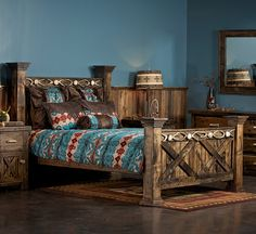 Rustic Barn Door Bed--Queen The Antler & Barnwood Bed comes complete with headboard, foot board, side rails and center slats. This weathered wood bed with antler accents gives a strong rustic presence to any bedroom. Rustic Bedroom Furniture, Rustic Bedding, Cabin Furniture, Farmhouse Bedroom Decor, Furniture Design, Furniture Stores, Bedroom Rustic, Furniture Ideas, Furniture Dolly