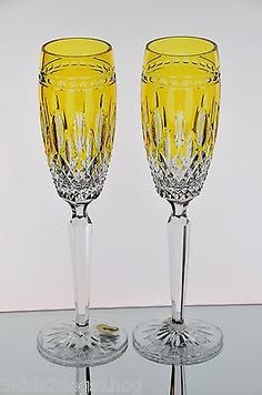 Waterford Clarendon Amber Yellow Gold Cut to Clear Crystal Wine Champagne Flutes