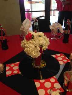 Delicious Strawberry Shake Centerpieces for a 50's Themed Wedding Hosted in our Rosario's Room