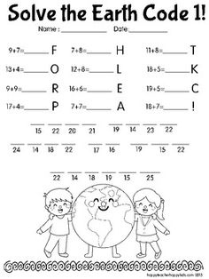 I think I'll make these multiplication and division! Earth Day Worksheets, Earth Day Activities, Earth Day Crafts, Earth Day Projects, School Projects, School Ideas, 1st Grade Math, Grade 2, We Are The World