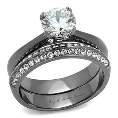 1.7CT Round Cut Solitaire Russian Lab Diamond Light Black Bridal Set Wedding Ring