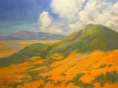 A California impressionist oil painting of poppies growing during the 2019 Superbloom. Brilliant golden color, contemporary landscape by Karen Winters Oil Paintings, Landscape Paintings, Watercolor Paintings, Painting Art, Landscapes, Impressionist Landscape, Daily Painters, California Poppy, Contemporary Landscape