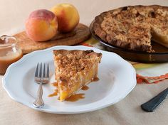 Salted Caramel Peach Crumble Pie | Baking and Cooking Blog - Evil Shenanigans