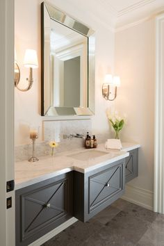 traditional powder room with floating vanity Small Baths with Big Impact - Daily Home Decorations Bad Inspiration, Bathroom Inspiration, Bathroom Inspo, Modern Bathroom Design, Bath Design, Tile Design, Vanity Design, Design Bedroom, Powder Room Vanity