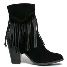 Black Ankle Boots with Fringes #cutesyoriginals