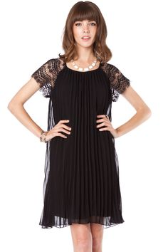 $53 ShopSosie Style : Bethany Pleated Dress in Black