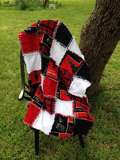 Texas Tech Rag Quilt (Red Raider), crib size, with a personalized label included.
