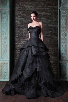 Stunning black wedding dress.