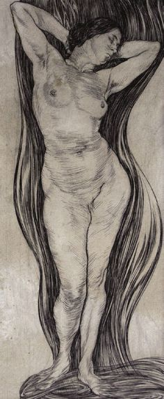 Austin Osman Spare, Standing Nude, c.1922, Pen and ink on paper, 37.5 x 15.5 cm  From the recent exhibition I:MAGE - Fulgur Esoterica, London, May 19-25 2013  See: http://fulgur.co.uk/art/  Image © Fulgur Limited, 2013