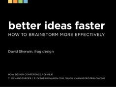 Better Ideas Faster: How to Brainstorm More Effectively by frog design