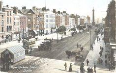Cabman's shelter on Upper Sackville (now O'Connell) Street, Dublin, Ireland Dublin City, Horse Drawn, Dublin Ireland, Paris Skyline, Shelter, Horses, Street, Travel, Viajes