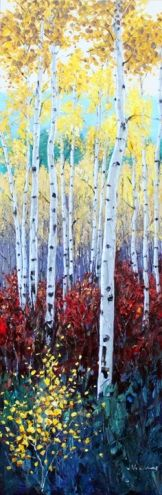 Burgundy Fall - Aspen Birch Paintings by Jennifer Vranes, painting by artist Jennifer Vranes