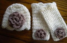 Crochet Baby Hat and Matching Leg Warmers in Ivory and Antique
