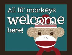 lots of FREE sock monkey party printables here