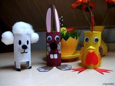 Prace plastyczne - Kolorowe kredki: Wielkanocne zwierzątka z rolek Diy For Kids, Crafts For Kids, Techno, Easter, Christmas Ornaments, Disney Characters, Holiday Decor, Inspiration, Art Ideas