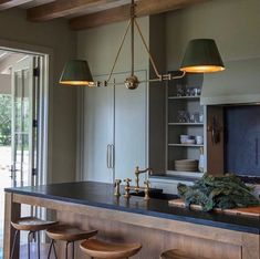 """Precision Cabinetry & Design on Instagram: """"Obsessed with all this green! Amazing design by @jllcharleston and the pendant by @urbanelectricco"""" Kitchen Black Counter, Green Kitchen Cabinets, Olive Green Kitchen, Rustic Colors, Rustic Lighting, Kitchen Lighting, Rustic Kitchen, Parisian Kitchen, Organizer"""
