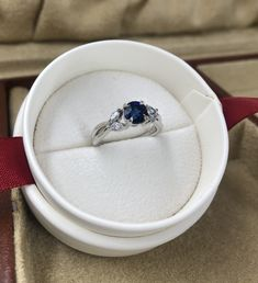 Blue sapphire and diamond engagement ring in white gold. Blue Sapphire Rings, Diamond Engagement Rings, White Gold, Jewelry, Jewlery, Jewels, Jewerly, Jewelery, Diamond Engagement Ring