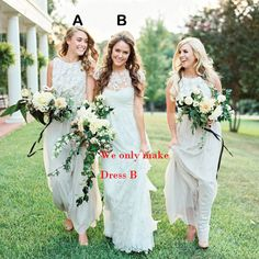 Crew Neck Lace Bridesmaid Dresses 2015 New Long A Line Wedding Party Bridesmaid Gown Custom Size