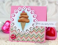 Watercoloring tutorial with Copic Various Ink Refills, using Lockhart Stamp Company Doodles Ice Cream Cone - by Sharon Harnist.