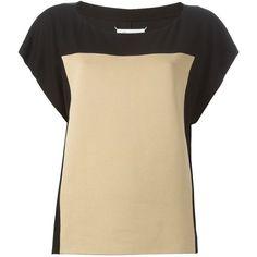 Maison Margiela colour block sweater (63.210 RUB) via Polyvore featuring tops, sweaters, black, colorblock sweater, black boat neck sweater, black boatneck top, black sweater и boat neck tops