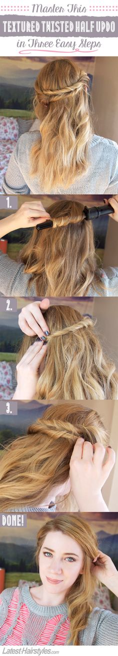 Here's the twisted half updo tutorial you've been waiting for...SO simple yet so pretty!