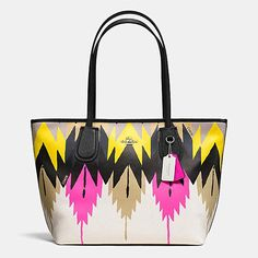 COACH TAXI ZIP TOP TOTE IN PRINTED CROSSGRAIN LEATHER