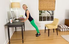 4 Fat-Burning Barre Exercises You Can Do at Home - Every workout includes an isometric hold, small one-inch movements, and a dynamic, functional range of motion. Try one of all of these moves while cooking dinner, watching your favorite TV shows, or as a quick break at the office. It's time to raise the barre! | Health.com