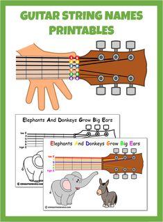 Names of the Guitar Strings - KidsGuitarWorld Music Theory Guitar, Easy Guitar Songs, Guitar Chords For Songs, Music Guitar, Playing Guitar, Learning Guitar, Learn Acoustic Guitar, Learn Guitar Chords, Guitar Chords Beginner