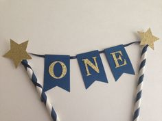 1st Birthday Cake Bunting Topper ~Navy and Gold First Birthday ~Twinkle Twinkle Little Star Cake Topper~ Smash Cake Topper ~ Royal Prince