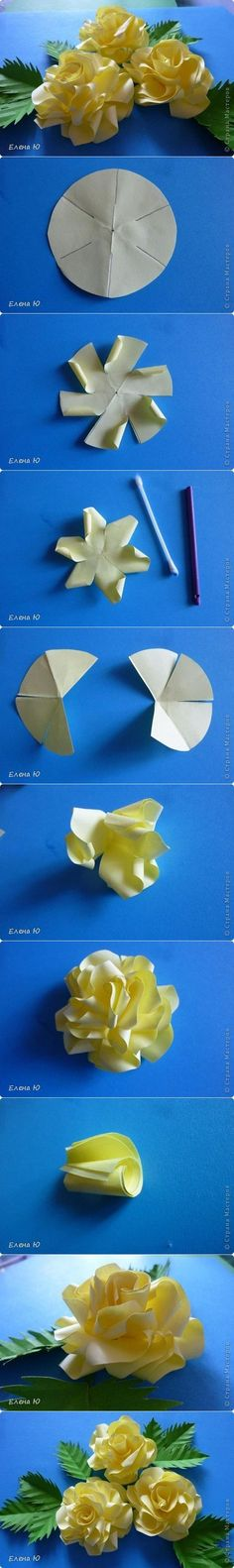 Here is a tutorial for DIY paper roses. First of all, you need round-shaped papers. Use the first one as the base of the flower. Cut and curl it as shown. Then, for the upper layers use 4/6 of a pi…