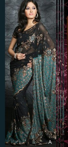 I want this black and teal saree