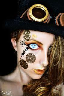 Steampunk Makeup - Clockpunk with metal gears