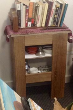 A cabinet - made of oak - still have to put the door on.