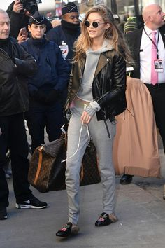 Add a leather jacket to sweatpants and a sweatshirt to make your look more chic!