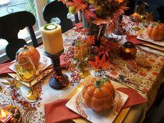 Thanksgiving dinner tablescape.