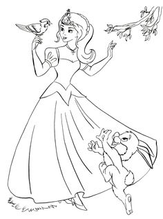 Coloring page - The Princess and the good animals Moana Coloring Pages, Frozen Coloring, Barbie Coloring Pages, Princess Coloring Pages, Animal Coloring Pages, Coloring For Kids, Coloring Pages For Kids, Coloring Books, Inside Out Coloring Pages