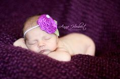 Purple satin rosette headband by Chic Pretties.  Photo by Anne from www.anneherbertphotography.com