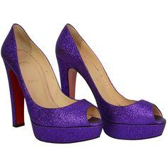 Pre-owned CHRISTIAN LOUBOUTIN Purple Glitter Platform Peep-Toe Pumps... ($450) ❤ liked on Polyvore