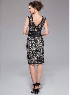 Sheath/Column V-neck Knee-Length Satin Lace Cocktail Dress (007037276) - JJsHouse