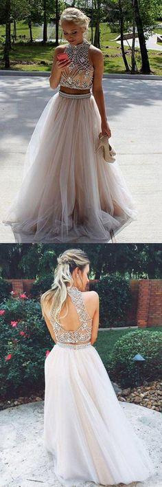 Two Piece High Neck Sleeveless Floor-Length Prom Dresses Evening Dresses