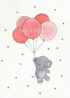 Easy Drawings Childrens art Elephant Balloons watercolour painting PRINT 8 x 10 Up up and away Elephant Pink Red Hearts Love Happy Cute Boy Girl - Animal Drawings, Cute Drawings, Cartoon Elephant Drawing, Easy Elephant Drawing, Elephant Drawings, Elephant Balloon, Art Mignon, Cute Elephant, Elephant Doodle