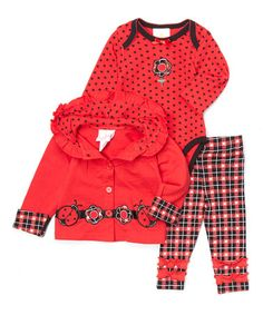Another great find on #zulily! Red & Black Ladybug Jacket Set #zulilyfinds